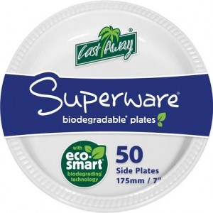 DISPOSABLE PLATES ROUND 180mm CASTAWAY PKT 50  (price excludes gst)