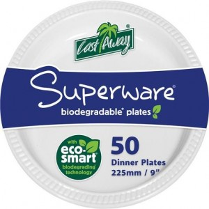 DISPOSABLE DINNER PLATES WHITE ROUND 230mm CASTAWAY PKT 50  (price excludes gst)