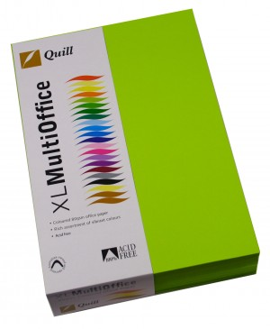 QUILL XL COPY PAPER A4 FLUORO GREEN Ream 500 (price excludes gst)