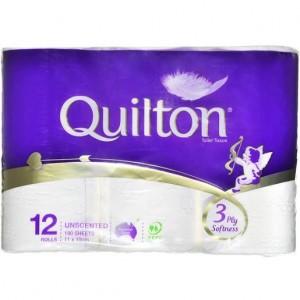 TOILET TISSUE PAPER QUILTON 3 PLY Box 60
