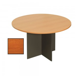 RAPIDLINE ROUND MEETING TABLE 900mm Diameter Top with X Base Cherry & Ironstone (price excludes gst)