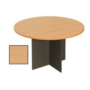 RAPIDLINE ROUND MEETING TABLE 1200mm Diameter Top with X Base Beech & Ironstone (price excludes gst)