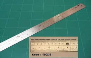 METAL RULER 100cm METRIC/IMPERIAL #10036  (price excludes gst)