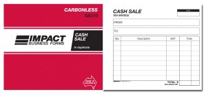IMPACT CARBONLESS CASH SALE TAX INVOICE BOOK DUP. (5x4) SB-310 (price excludes gst)