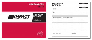 IMPACT CARBONLESS DELIVERY DOCKET BOOK DUP. (5x4) SB-312 (price excludes gst)