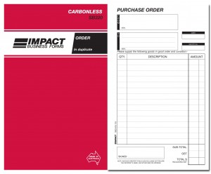 IMPACT CARBONLESS PURCHASE ORDER BOOK DUP. (8x5) SB-320 (price excludes gst)