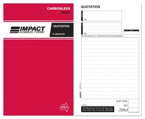 IMPACT CARBONLESS QUOTATION BOOK DUP. (8x5) SB-321 (price excludes gst)