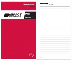 IMPACT CARBONLESS PLAIN RULED BOOK DUP. (8x5) SB-325 (price excludes gst)