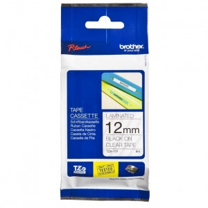 BROTHER TAPE TZ-131 12mm BLACK ON CLEAR