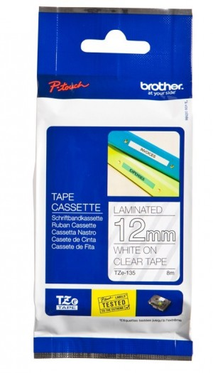 BROTHER TAPE TZ-135 12mm WHITE ON CLEAR