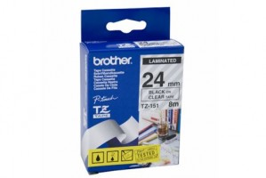 BROTHER TAPE TZ-151 24mm BLACK ON CLEAR