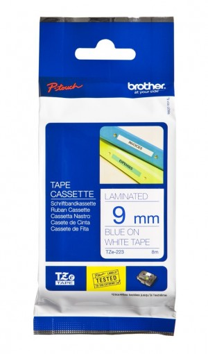 BROTHER TAPE TZ-223 9mm BLUE ON WHITE