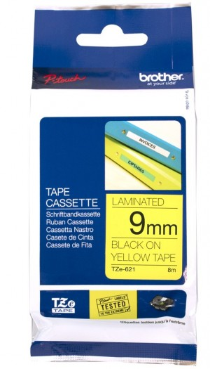 BROTHER TAPE TZ-621 9mm BLACK ON YELLOW
