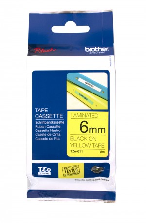 BROTHER TAPE TZ-611 6mm BLACK ON YELLOW