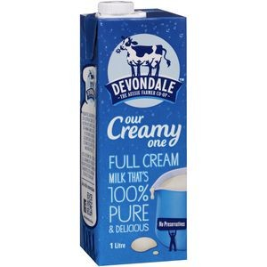 UHT MILK FULL CREAM 1 LITRE DEVONDALE