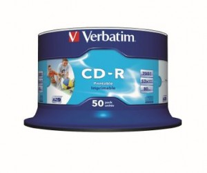 CD - Recordable 700MB 80 min 52x White Printable VERBATIM Spindle 50 41908  (price excludes gst)