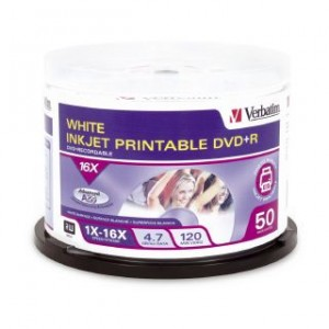 DVD + Recordable 4.7GB 16x White Printable VERBATIM Spindle 50 95137 (price excludes gst)