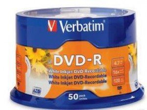 DVD - Recordable 4.7GB 16x VERBATIM Spindle 50  95137  (price excludes gst)