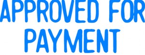 X STAMPER 1025 APPROVED FOR PAYMENT BLUE