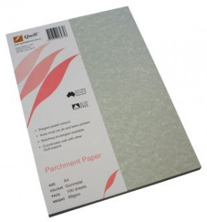 QUILL PARCHMENT PAPER A4 GUNMETAL 89gsm (PKT 100)  (price excludes gst)