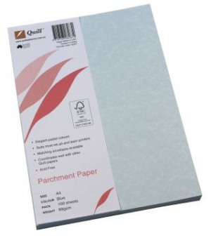 QUILL PARCHMENT PAPER A4 BLUE 89gsm (PKT 100)  (price excludes gst)
