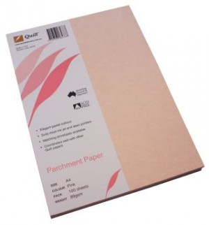 QUILL PARCHMENT PAPER A4 PINK 89gsm (PKT 100)  (price excludes gst)