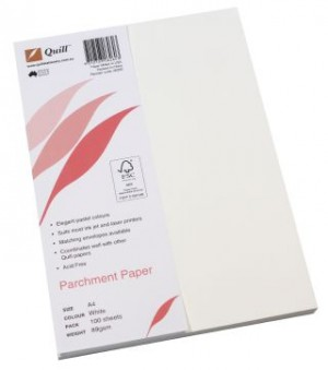 QUILL PARCHMENT PAPER A4 WHITE 89gsm (PKT 100)  (price excludes gst)