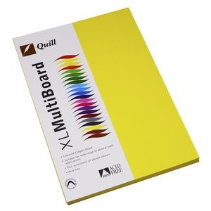 QUILL XL MULTI BOARD LEMON YELLOW 200 gsm (PKT 50)  (price excludes gst)