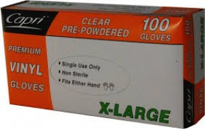GLOVES VINYL PRE POWDERED XTRA LARGE BOX 100  (price excludes gst)
